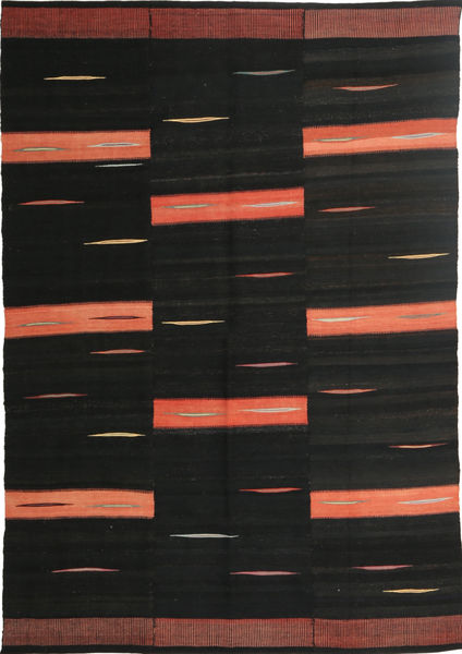 Kelim Moderni Matto 157X237 Moderni Käsinkudottu Musta (Villa, Persia/Iran)