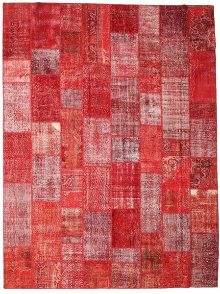Patchwork Alfombra 304X403 Moderna Hecha A Mano Rojo Oscuro/Óxido/Roja Grande (Lana, Turquía)