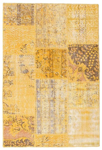 Patchwork Rug 120X180 Authentic  Modern Handknotted Light Brown/Dark Beige/Yellow (Wool, Turkey)