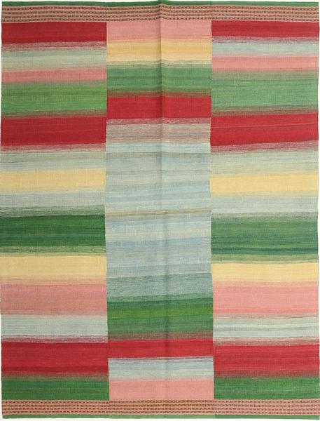 Kilim Moderni Tappeto 159X213 Moderno Tessuto A Mano Verde Pastello/Marrone (Lana, Persia/Iran)
