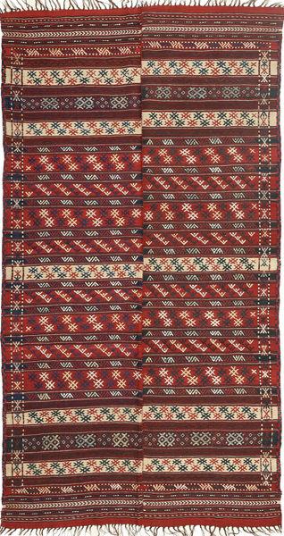 Kelim Moderni Matto 141X274 Moderni Käsinkudottu Tummanpunainen/Ruskea (Villa, Persia/Iran)