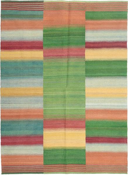 Kelim Moderni Matto 151X206 Moderni Käsinkudottu Vaaleanvihreä/Tummanpunainen (Villa, Persia/Iran)