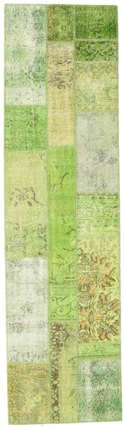 Patchwork Rug 81X298 Authentic  Modern Handknotted Hallway Runner  Light Green/Beige (Wool, Turkey)