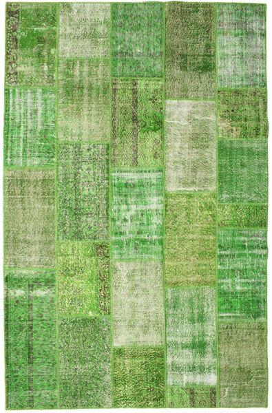 Patchwork Matto 201X308 Moderni Käsinsolmittu Vaaleanvihreä/Oliivinvihreä (Villa, Turkki)
