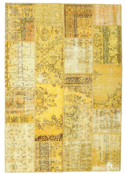 Patchwork Rug 160X226 Authentic  Modern Handknotted Yellow/Olive Green (Wool, Turkey)