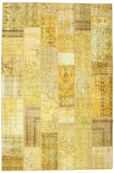 Patchwork Matto 201X303 Moderni Käsinsolmittu Keltainen/Oliivinvihreä (Villa, Turkki)
