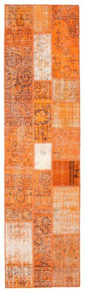 パッチワーク 絨毯 80X301 モダン 手織り 廊下 カーペット オレンジ/薄茶色 (ウール, トルコ)
