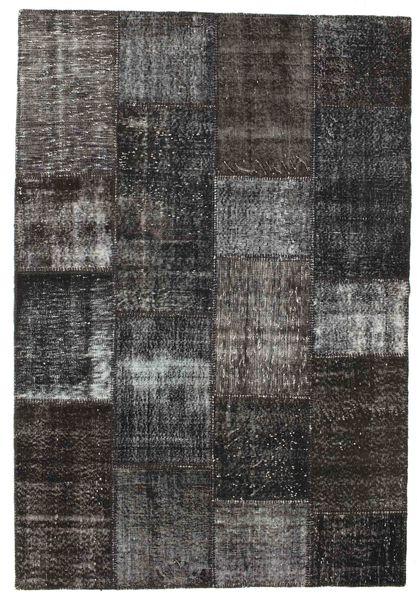 パッチワーク 絨毯 162X237 モダン 手織り 濃いグレー/黒 (ウール, トルコ)