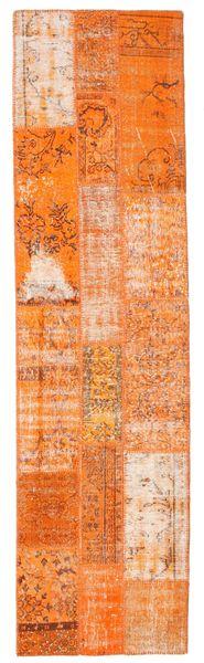 パッチワーク 絨毯 79X300 モダン 手織り 廊下 カーペット オレンジ/ホワイト/クリーム色 (ウール, トルコ)