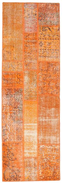 Patchwork Rug 81X250 Authentic  Modern Handknotted Hallway Runner  Orange/Light Brown (Wool, Turkey)