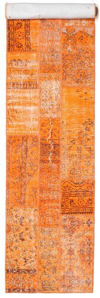 Patchwork Rug 81X398 Authentic  Modern Handknotted Hallway Runner  Orange/Dark Beige (Wool, Turkey)
