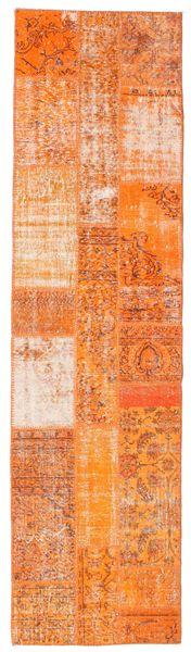 Patchwork Rug 81X305 Authentic  Modern Handknotted Hallway Runner  Orange/Dark Beige (Wool, Turkey)