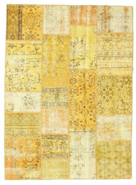 Patchwork Matto 142X193 Moderni Käsinsolmittu Keltainen/Beige (Villa, Turkki)