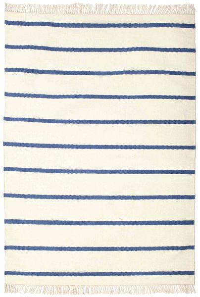 Dorri Stripe - White/Kék Szőnyeg 140X200 Modern Kézi Szövésű Bézs/Világos Rózsaszín (Gyapjú, India)