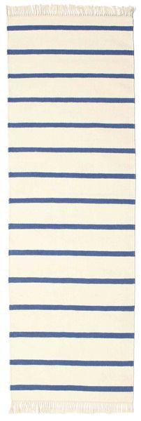 Dorri Stripe - Hvid/Blå Tæppe 80X300 Ægte Moderne Håndvævet Tæppeløber Beige (Uld, Indien)