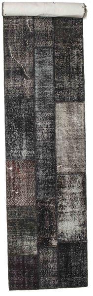 Patchwork Tapis 81X407 Moderne Fait Main Tapis Couloir Noir/Gris Foncé (Laine, Turquie)