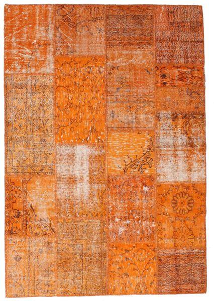 Patchwork Tapis 161X234 Moderne Fait Main Orange/Marron Clair (Laine, Turquie)