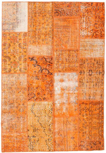 Patchwork Matto 162X234 Moderni Käsinsolmittu Oranssi/Vaaleanruskea (Villa, Turkki)