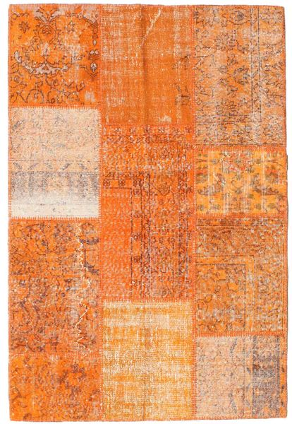 Patchwork Matto 121X180 Moderni Käsinsolmittu Oranssi/Vaaleanruskea (Villa, Turkki)