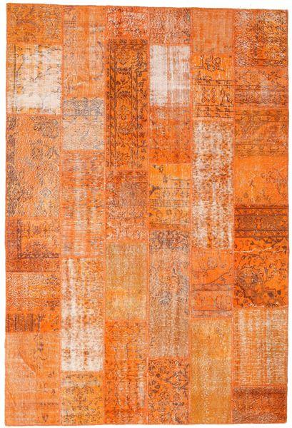 Patchwork Matto 201X298 Moderni Käsinsolmittu Oranssi/Vaaleanruskea (Villa, Turkki)