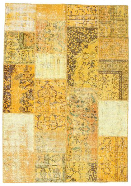 Patchwork Rug 161X231 Authentic  Modern Handknotted Yellow/Beige (Wool, Turkey)
