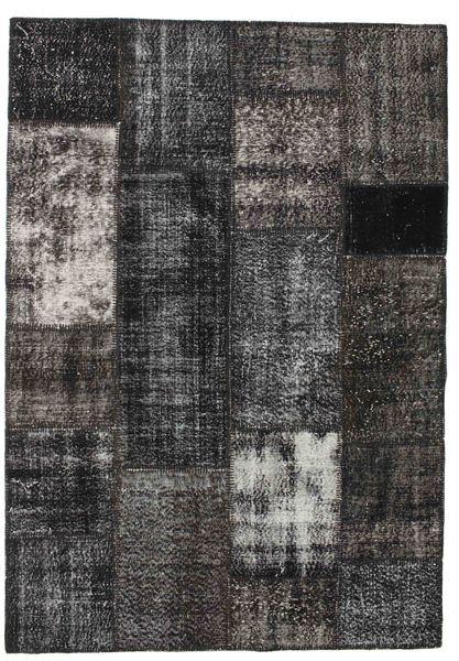 Patchwork Matto 160X230 Moderni Käsinsolmittu Musta/Tummanharmaa (Villa, Turkki)