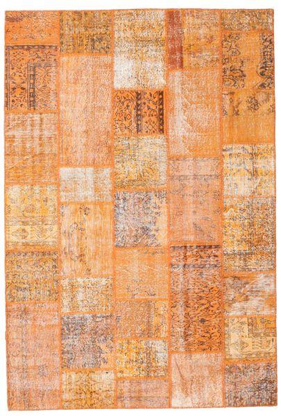 Patchwork Matto 203X300 Moderni Käsinsolmittu Vaaleanruskea/Tummanbeige/Oranssi (Villa, Turkki)