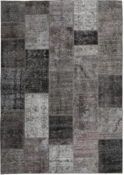 Patchwork Teppich  167X236 Echter Moderner Handgeknüpfter Dunkelgrau/Hellgrau (Wolle, Persien/Iran)