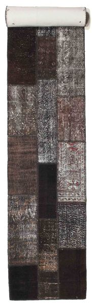 Patchwork Rug 79X602 Authentic  Modern Handknotted Hallway Runner  Dark Brown/Light Grey (Wool, Turkey)