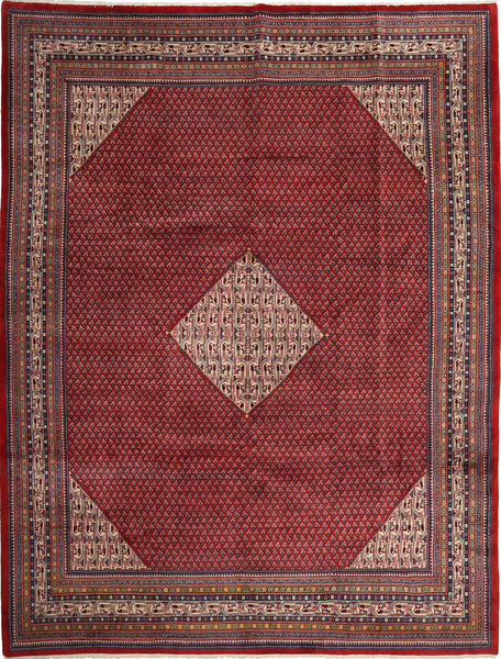 Sarough Mir Vloerkleed 293X393 Echt Oosters Handgeknoopt Donkerrood/Zwart Groot (Wol, Perzië/Iran)