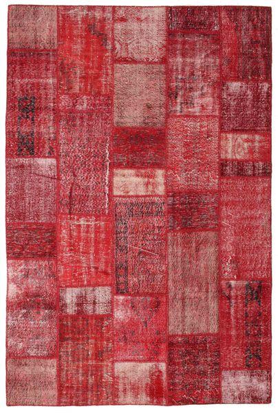 Patchwork Matto 201X305 Moderni Käsinsolmittu Punainen/Tummanpunainen (Villa, Turkki)