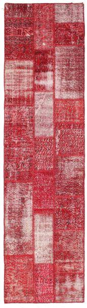 Patchwork Rug 81X303 Authentic  Modern Handknotted Hallway Runner  Crimson Red/Pink (Wool, Turkey)