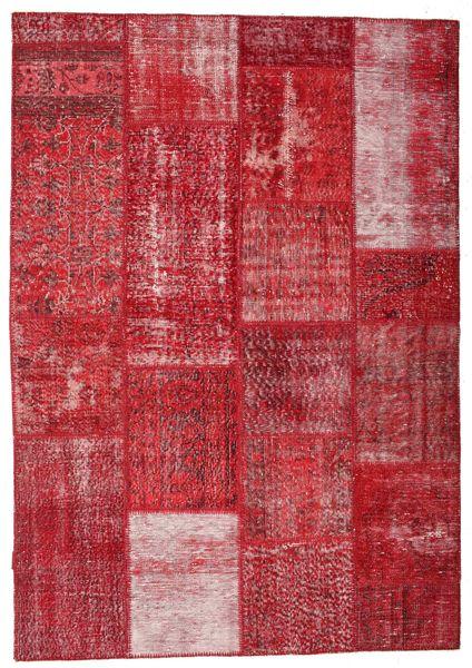 Patchwork Matto 163X233 Moderni Käsinsolmittu Punainen/Tummanpunainen (Villa, Turkki)