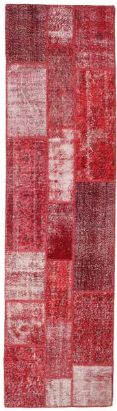 Patchwork Rug 81X300 Authentic  Modern Handknotted Hallway Runner  Crimson Red/Pink (Wool, Turkey)