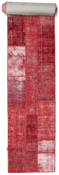 Patchwork Rug 81X610 Authentic  Modern Handknotted Hallway Runner  Crimson Red/Pink (Wool, Turkey)