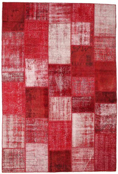 Patchwork Matto 203X301 Moderni Käsinsolmittu Punainen/Tummanpunainen (Villa, Turkki)