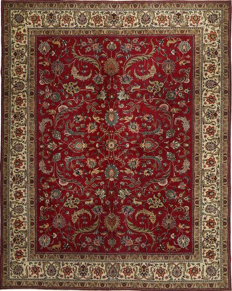 Tabriz Patina Matto 304X380 Itämainen Käsinsolmittu Tummanpunainen/Tummanruskea/Vaaleanruskea Isot (Villa, Persia/Iran)