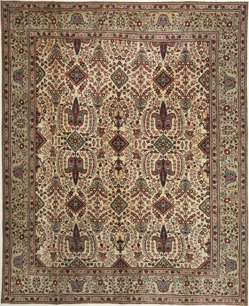 Tabriz Patina Matto 305X377 Itämainen Käsinsolmittu Vaaleanruskea/Ruskea Isot (Villa, Persia/Iran)