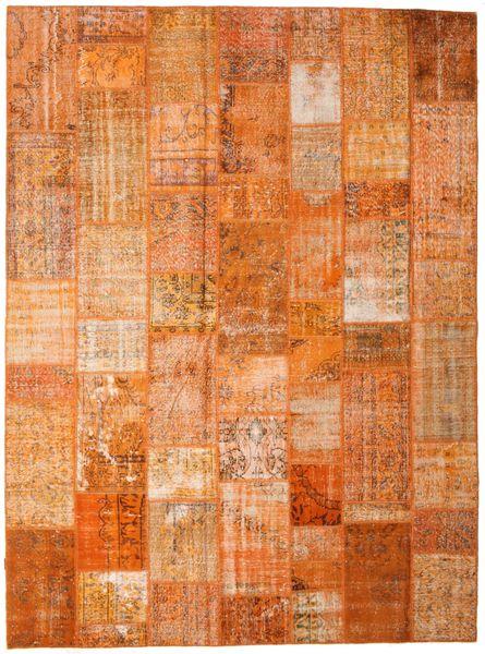 Patchwork Matto 273X368 Moderni Käsinsolmittu Oranssi/Ruskea/Vaaleanruskea Isot (Villa, Turkki)