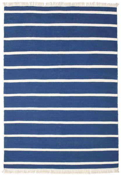 Dorri Stripe - Tummansininen Matto 140X200 Moderni Käsinkudottu Tummansininen/Sininen (Villa, Intia)