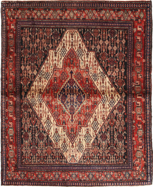 Senneh Tapis 120X152 D'orient Fait Main Rouge Foncé/Noir (Laine, Perse/Iran)