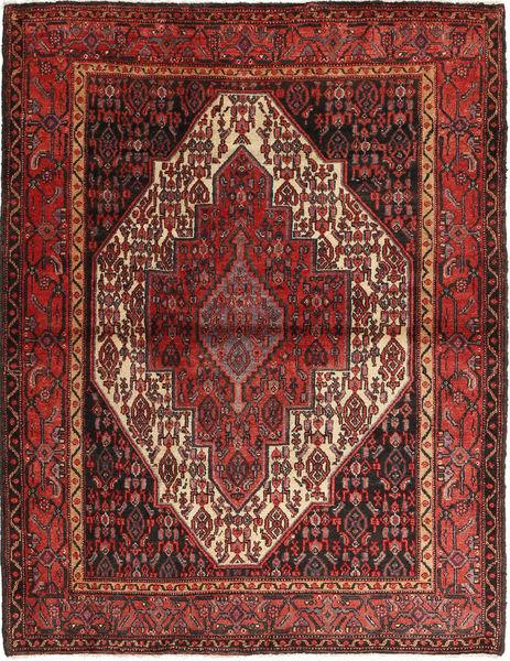 Senneh Matto 125X162 Itämainen Käsinsolmittu Tummanpunainen/Ruskea (Villa, Persia/Iran)