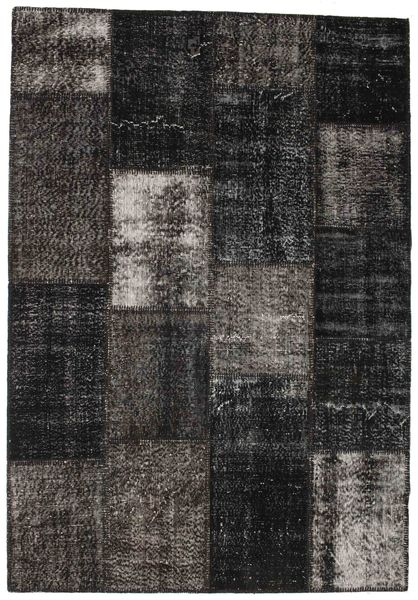 Patchwork Rug 160X233 Authentic  Modern Handknotted Black/Dark Grey (Wool, Turkey)