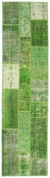 Patchwork Rug 79X300 Authentic  Modern Handknotted Hallway Runner  Light Green/Green  (Wool, Turkey)