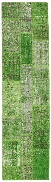 Patchwork Rug 79X296 Authentic  Modern Handknotted Hallway Runner  Light Green/Olive Green (Wool, Turkey)