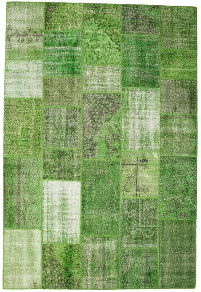 Patchwork Rug 201X298 Authentic  Modern Handknotted Green /Light Green (Wool, Turkey)