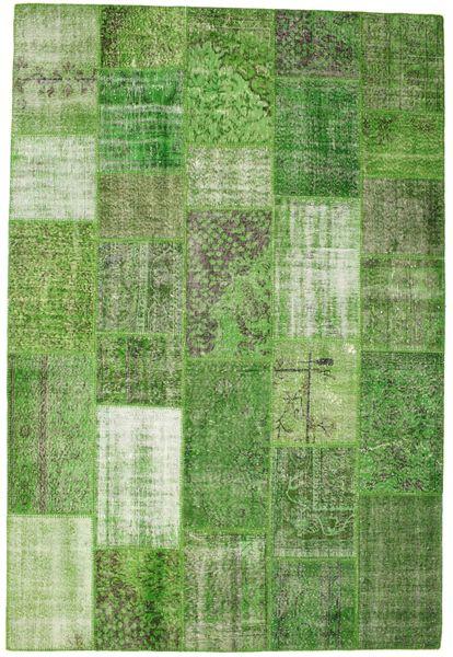 パッチワーク 絨毯 201X298 モダン 手織り 緑色/ライトグリーン (ウール, トルコ)