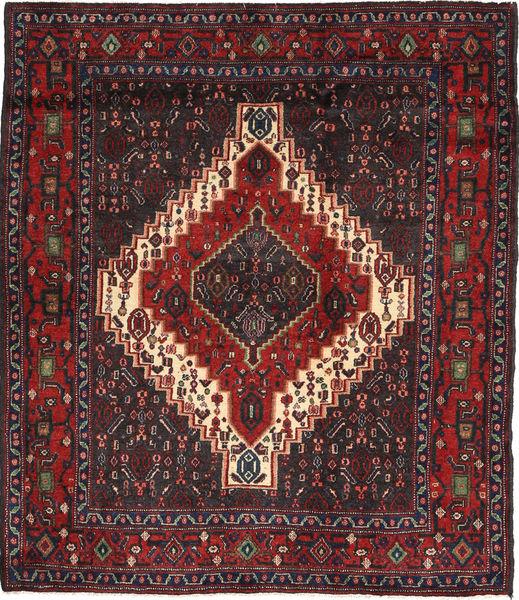 Senneh Matto 128X146 Itämainen Käsinsolmittu Tummanpunainen/Musta (Villa, Persia/Iran)