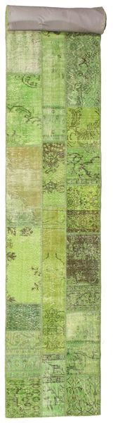Patchwork Rug 80X607 Authentic  Modern Handknotted Hallway Runner  Light Green/Olive Green (Wool, Turkey)