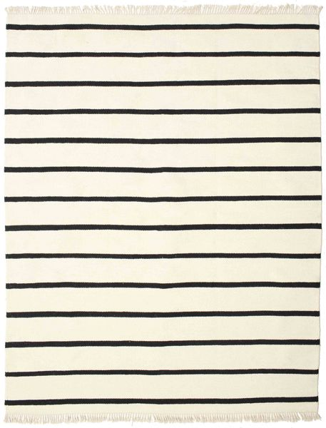 Dhurrie Stripe - White/Black Rug 200X250 Authentic  Modern Handwoven Beige/Black (Wool, India)